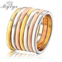Mytys Wielu Warstw Pierścień Mody Różowe Złoto Żółty R723 GP 7 Warstwy Zestawy Pierścieni dla Kobiet