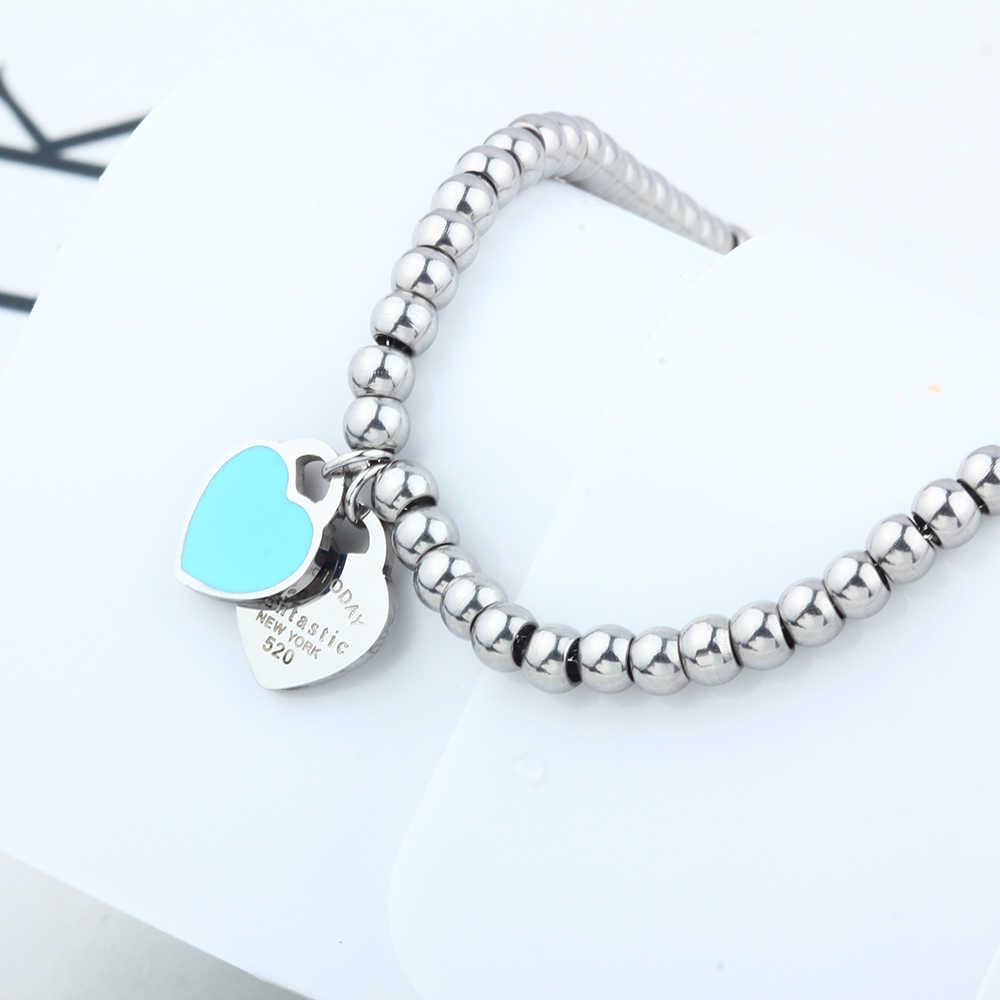 Charms heart bracelet& bangles beads femme bracelet  for women female stainless steel jewelry silver charm braslet