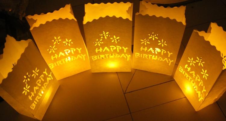 20 Teile Los HAPPY BIRTHDAY Kerze Tasche Teelichthalter Papier Taschen Koryphaen Laterne Fur Geburtstagsfeier Dekoration Freies Verschiffen In