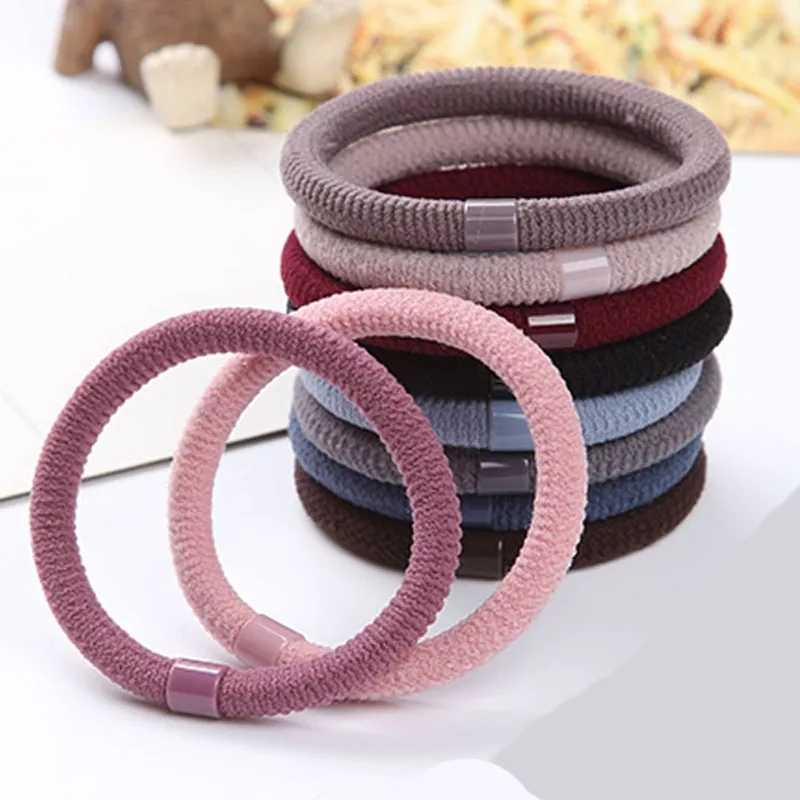 10 Pcs/Lot Neutral Solid Color Black Hair Bands Elastic Hair Ties Girls' Ponytail Holder Women Hair Accessories