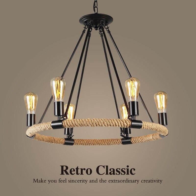 6 8 cabeças Loft luzes Pingente retro criativo país da América Do Vintage corda lâmpada loja bar café restaurante ferro luz cânhamo corda