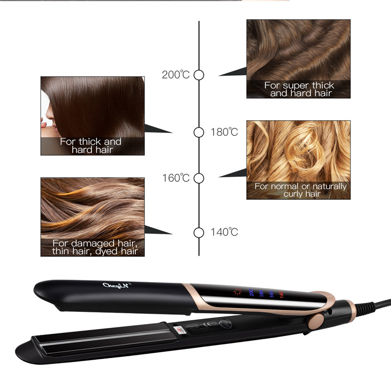 Professional Hair Straightener LED Digital Display Ionic Heating Flat Iron 3D Floating Plates Temperature Control Perm Curler 35