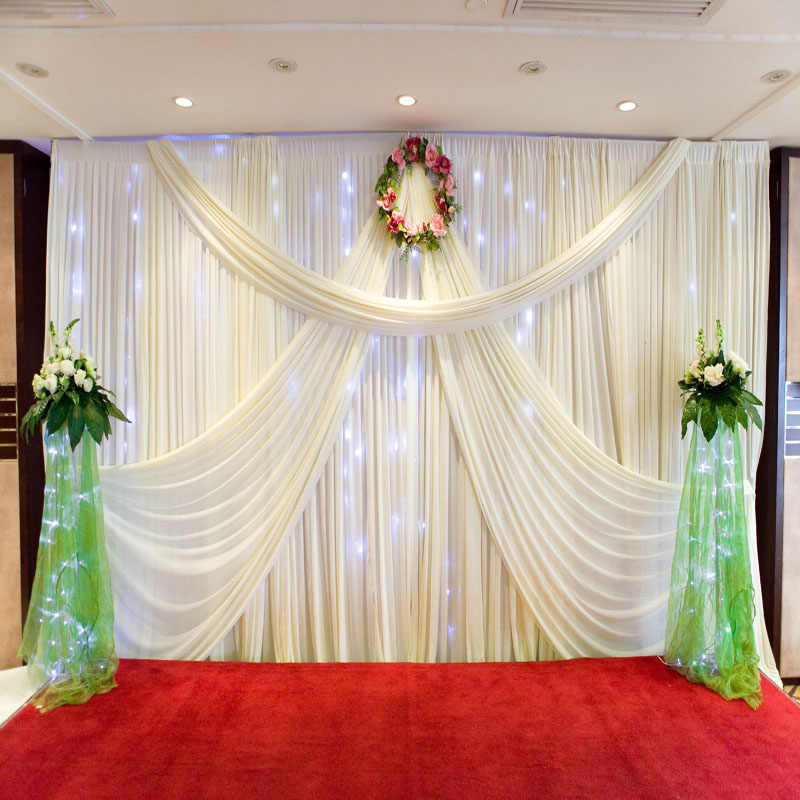 Wedding Decoration 1.5*10M Wedding Silk Satin Fabric Wedding Birthday Party Background DIY Curtain