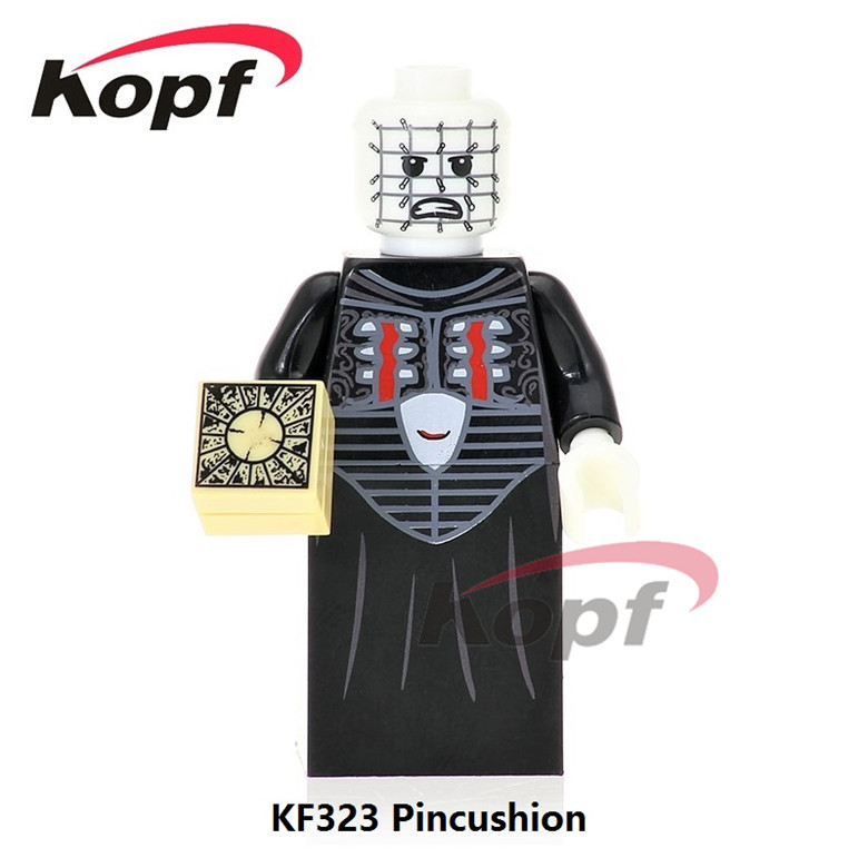 50Pcs KF323 Building Blocks The Horror Theme Movie Pincushion Billy Candyman Michael Myers Hockey Mask Jason Toys for children