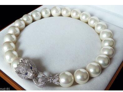 Énorme 20mm véritable blanc mer du sud coquille imitation perle collier AAA cristal fermoir 18
