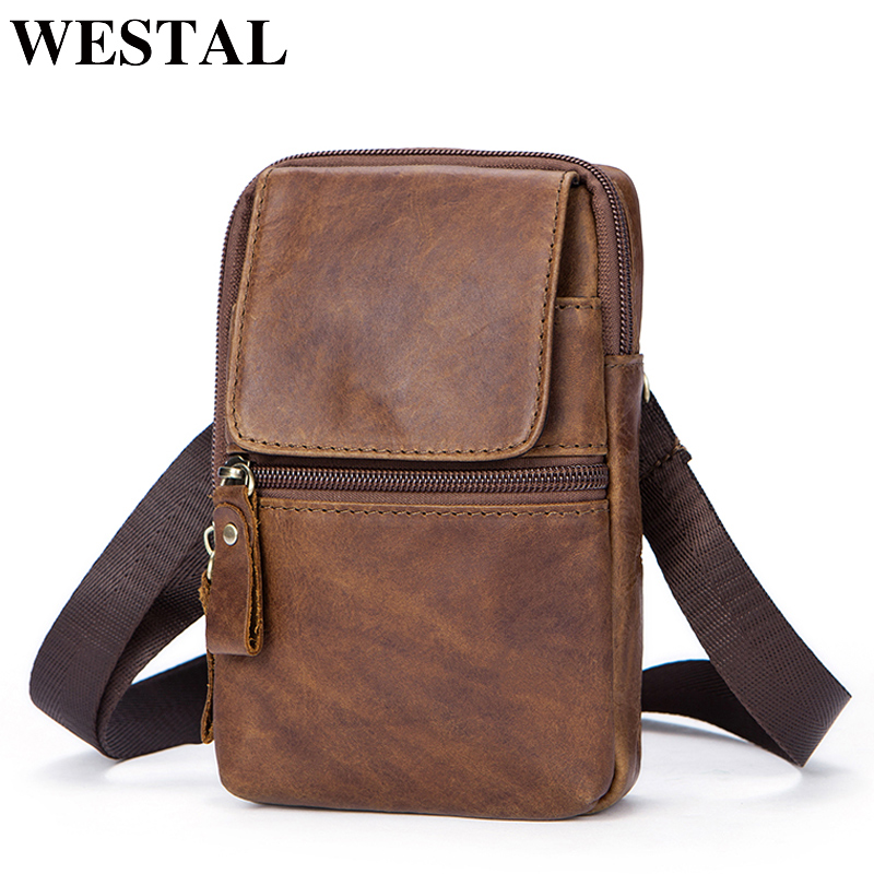 WESTAL Leather Men Bag Genuine Leather Shoulder Crossbody Bags for Man Waist Bag Messenger Bags Men Small Phone Pouch Flap 1024 yiang 2018 genuine leather bags men high quality messenger bags small travel crossbody shoulder bag small phone pouch for men