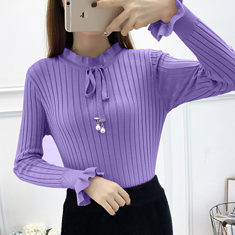Winter Tops For Women 2019 New Bow Beading Lace Up  Knitted Sweater Women Sweaters And Pullovers High Elasticity Woman Sweaters