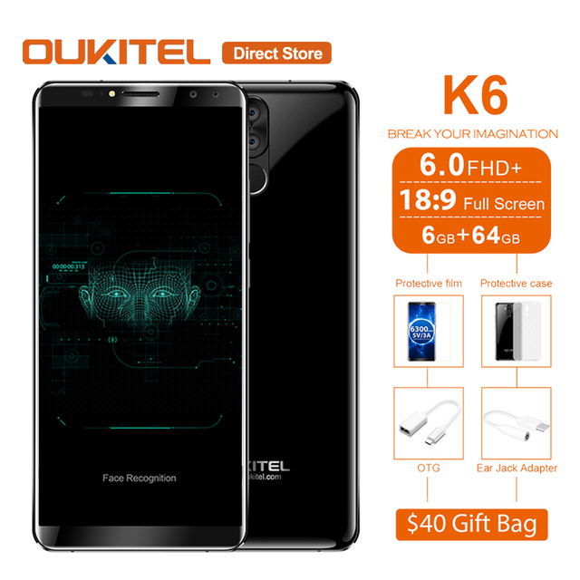 Aliexpress buy oukitel k6 face id 6300mah 4g smartphone 60 oukitel k6 face id 6300mah 4g smartphone 60 189 fhd android 71 mtk6763 fandeluxe Choice Image