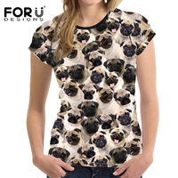 FORUDESIGNS Funny 3D Pug Dog Women Basic T Shirt Summer Woman Tops O Neck Breath Female