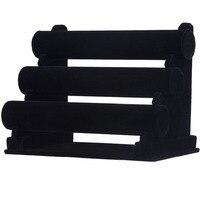 Triple Tier Fluwelen Armband Horloge Houder Sieraden Display Opslag Ketting Bangle Organizer Stand Zwart (3 Tier) zwart/Ice Grey