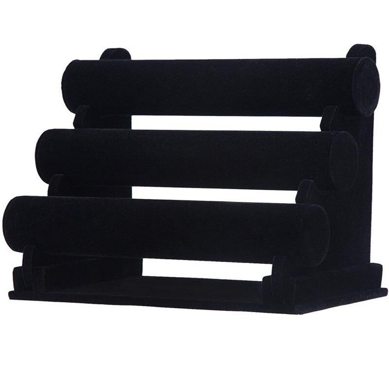 Triple Tier Velvet Bracelet Watch Holder Jewelry Display Storage Necklace Bangle Organizer Stand Black (3 Tier) Black/ Ice Grey