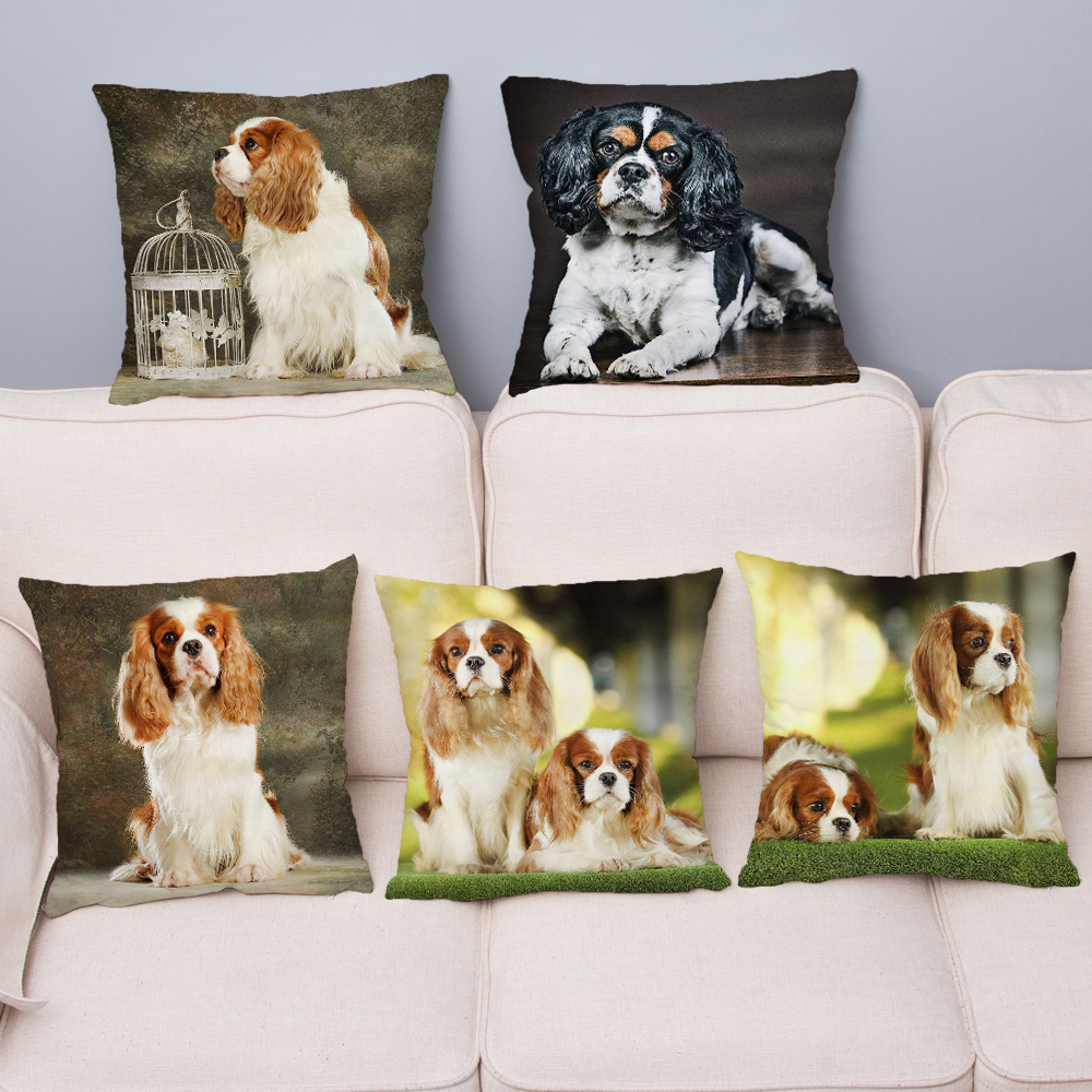 Noble King Charles Spaniel Dog Cushion Cover Soft Short Plush Throw Pillow Case 45*45cm Pillow Cover Home Decor Cushion Covers