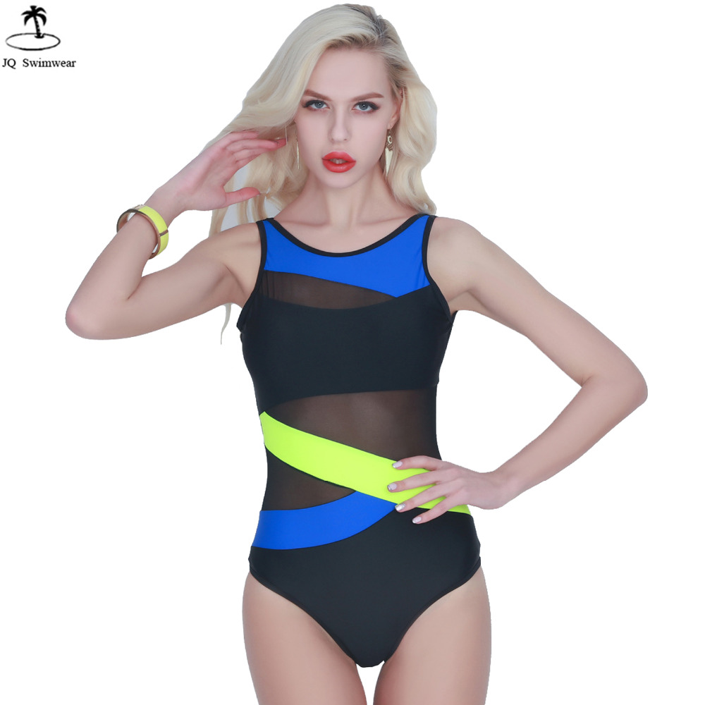 2017 New Sexy High Neck One Piece Swimsuit Women's Mesh Halter Bandage Cut Out Patchwork One Piece Bathing Suit Swimwear new sexy high cut backless bandage one piece swimsuit with skirt high neck patchwork swimwear striped blue beach bathing suits