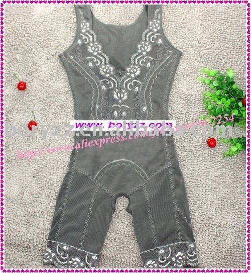 Hot Wholesaler!!! Free shipping Grey and Ivory Body lift shaper, high standard Brocade Corset