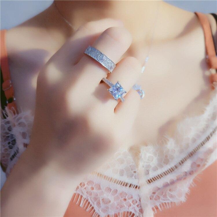 XI FAN juste fiançailles anneaux de mariage cubique zircone argent CZ pierre 925 bijoux en argent sterling pour les femmes anel gros XF105 - 5