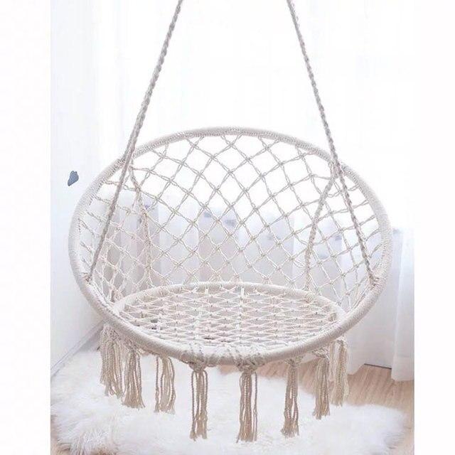 2017 hot sale garden swing chair decorative cotton hanging sitting