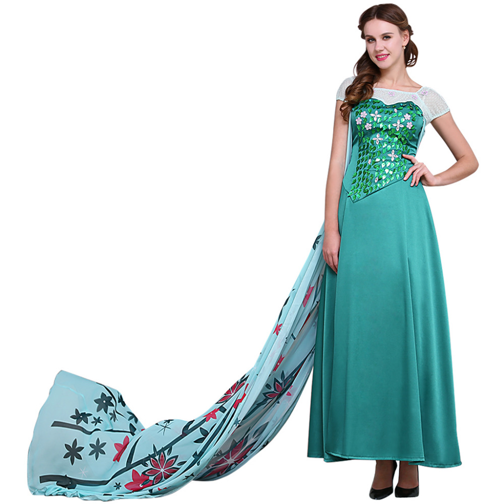 Snow Queen Elsa Dress Costume Adult Elsa Cosplay Costume Halloween Carnival Party Costume