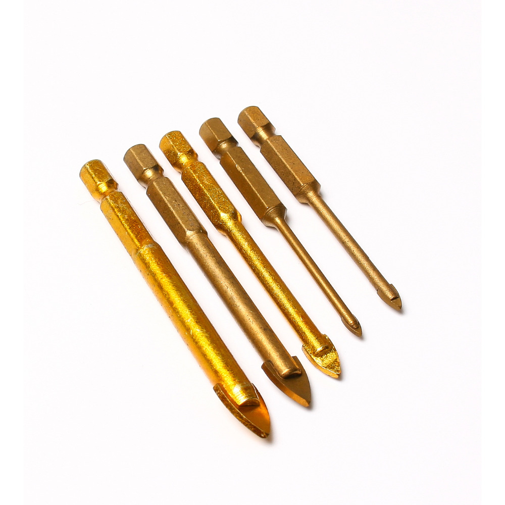 Aukštos kokybės karštas išpardavimas, 5 vnt., Titanu dengto stiklo grąžtai, komplektuojami 3/4/6/8 / 10mm su šešiabriauniu keramikos plytelių marmuro veidrodėlio stiklu