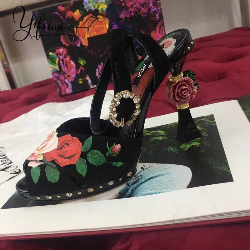 YIFSION New Fashion Black Genuine Leather Floral Women Summer Sandals Open Toe Buckle Strap Thin High Heel Sandals Shoes Woman in High Heels from Shoes