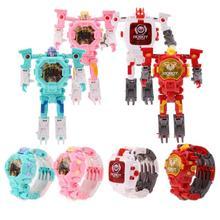 1 шт. Творческие Дети наручные трансформации Электронный Робот часы игрушка для Детский подарок deform робот мультфильм спортивные часы игрушка