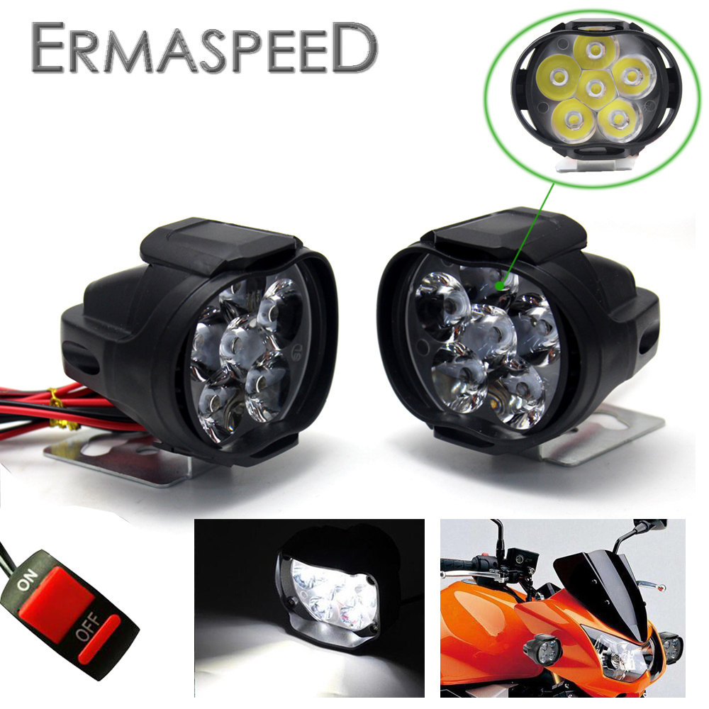 2Piece Motorcycle LED headlights Lamp With Switch Waterproof 6leds 3000K Auxiliary Motorcross Light for Honda KTM Cafe Racer BMW|  - title=
