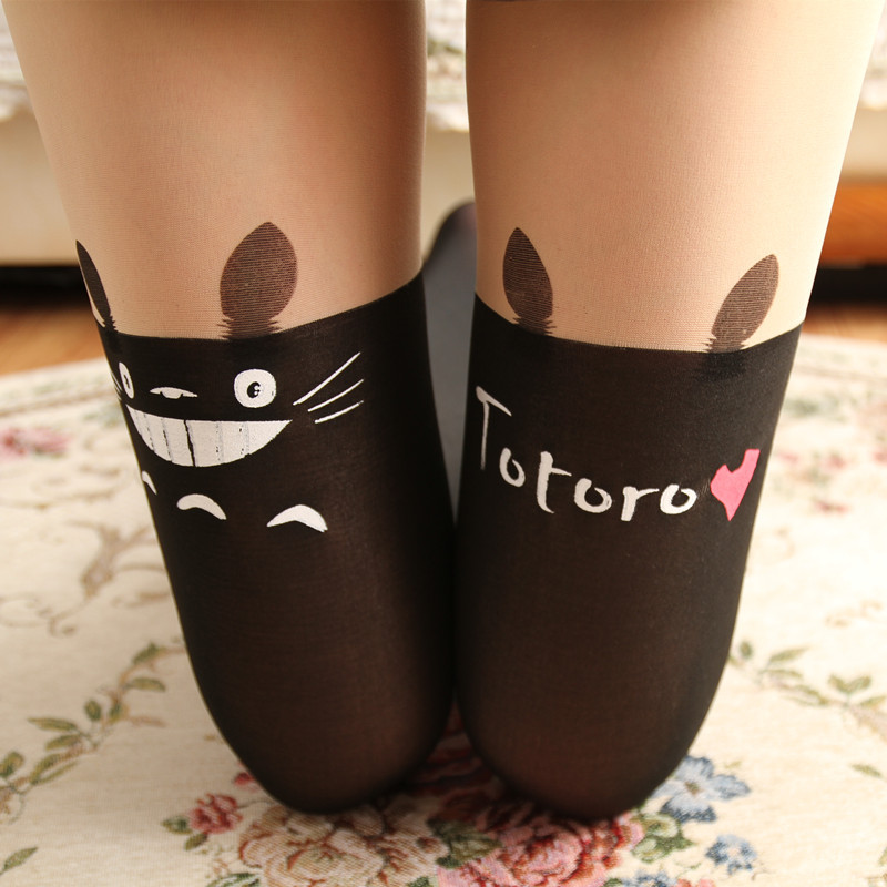 Hot Fashion Women Over the Knee Tights Totoro Cartoon Tights False High Stocking Sexy Sheer Pantyhose Long Sexy tights Hosiery