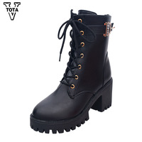 VTOTA Fashion Autumn Boots Women High Heels Platform Shoes Woman Botas Mujer Lace Up Leather Boots