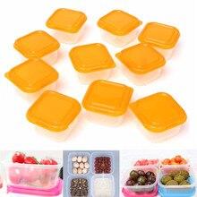 10 шт. многоразовые мини-пластиковые коробки для хранения продуктов, контейнеры, закуска, орех, органайзер для фруктов, коробка, набор, кухонные крышки, аксессуары