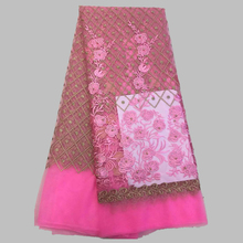 French lace fabric 5yds/pce by dhl cotton material pink african laces for women event dresses 2017 nigerian fabrics 3531