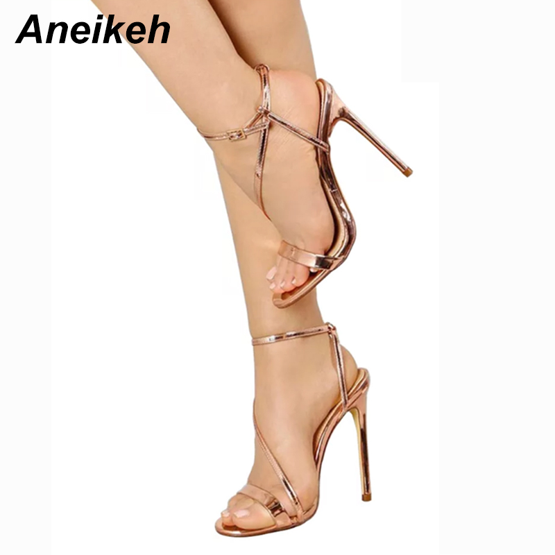 Aneikeh 2018 Summer Sandals Women Sexy Pump Open Toe Buckle Strap Sandals Thin Heels Sexy Office Lady Party Shoes Size 35-40 цена 2017