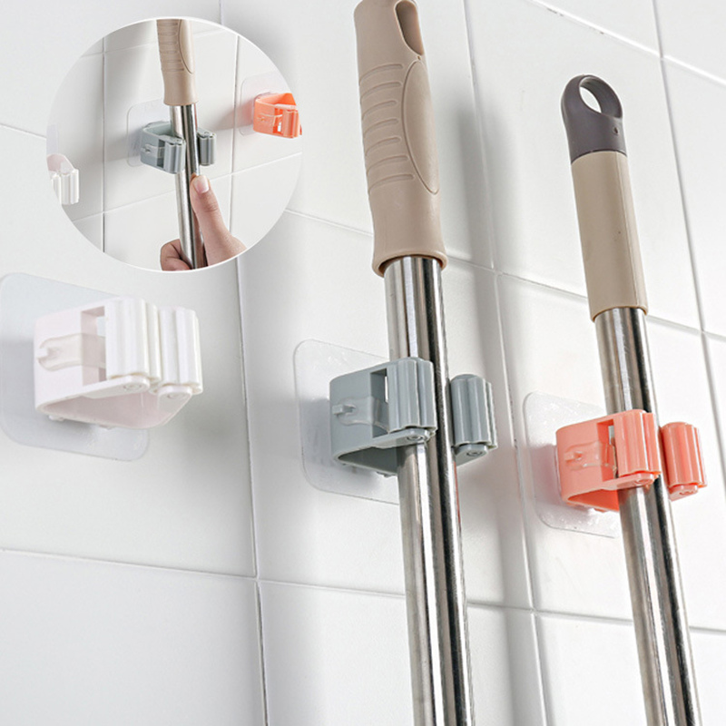 Wall Mounted Mop Organizer Holder Hang Brush Broom Hanger Storage Rack Kitchen Tool Seamless Storage Stick Holder
