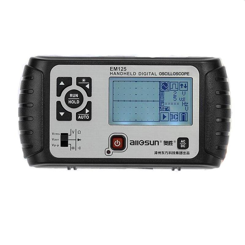 2in1 Portable Digital Handheld 25MHz 100MSa/s Oscilloscope+Multimeter Single Channel Waveform USB LCD Backlight EM125