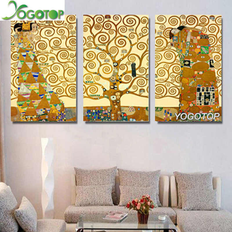 5D Diy Diamond Painting Gustav Klimt Tree Of Life Full Round Diamond Embroidery Mosaic rhinestone Home Decor triptych 3pcs ML803
