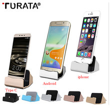 Turata Android Mobile Phone Charger Base Micro USB Type C Charging Syncing Docking Station For Samsung Xiaomi Huawei iphone X(China)