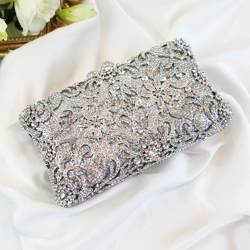 female hand bag, party hand bag, women's Crystal Silver banquet bag, mobile phone package, dress bag hand holding dinner package