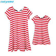 Mom And Daughter Matching Dresses Striped Bow Short Sleeve Dresses Family Look Mother