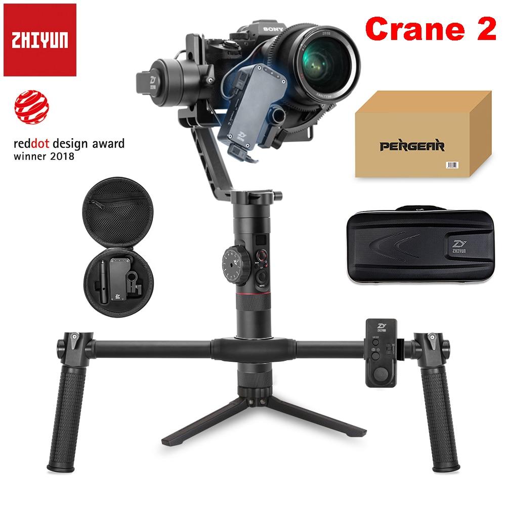 Zhiyun Crane 2 3 eje cardán portátil cámara de vídeo giroscopio estabilizador para DSLR con enfoque de seguimiento remoto 3,2Kg de carga útil pantalla OLED
