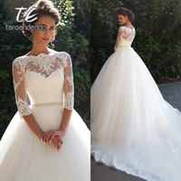 Bateau Ball Gown Wedding Dresses Three Quarter Sleeves Illusion Back Beading Waist Court Train Bridal Dress with Back Buttons