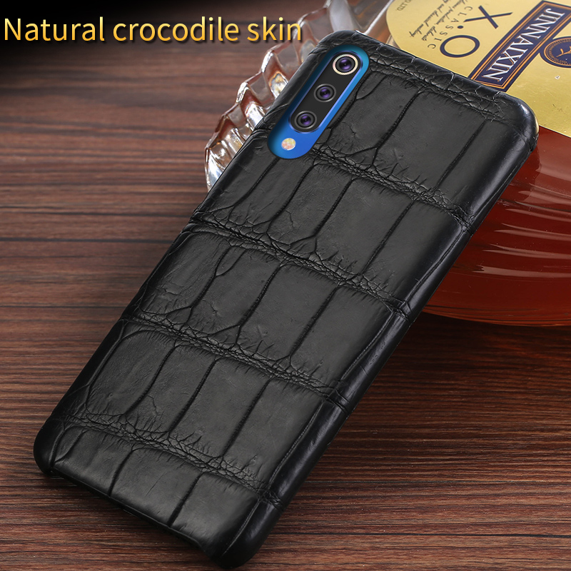 100% étui en cuir de Crocodile d'origine pour xiaomi mi 9T pro 9se housse de téléphone portable de luxe pour xiaomi redmi K20 pro note 7 7a funda