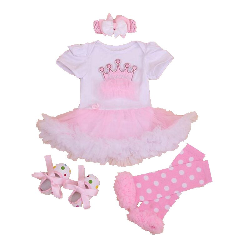 Princess Crown Applique New 2017 Baby Girl Summer Clothes 4PCS Newborn Tutu Sets Ropa Bebe 1st Birthday Outfits Infant Clothing crown princess 1 year girl birthday dress headband infant lace tutu set toddler party outfits vestido cotton baby girl clothes
