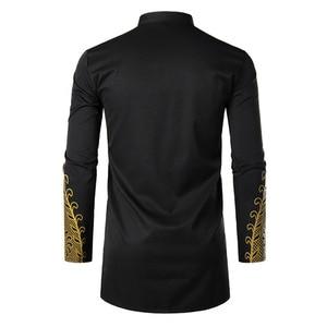 Image 3 - Chemisier musulman à manches longues pour hommes, chemise dorée à la mode, nouveauté, Kaftan, vêtement musulman pour loisirs
