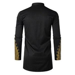 Image 3 - Muslim Blouse Fashion Bronzing Shirts Talit Novelty Gilding Shirts Islam Leisure Pullover Long Sleeve Moslim Kaftan Clothing Men