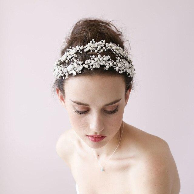 Dower me Handmade Pearl Beading Wedding Headpiece Crystal Bridal Tiara  Headband Elegant Hair Accessories ae2a4cb85df2
