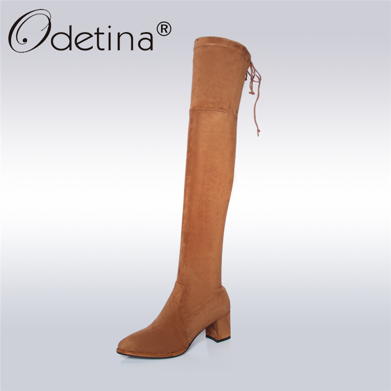 Odetina 2017 New Genuine Leather Women Over The Knee Boots Pointed Toe Suede Thigh High Boots Chunky Block Heel Plus Size 33-42 nayiduyun new fashion thigh high boots women faux suede point toe over knee boots stretchy slim leg high heels pumps plus size