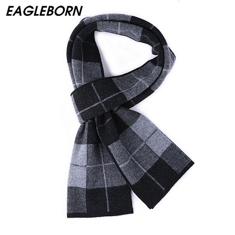 EAGLEBORN 100% laine d'agneau Plaid homme écharpe hommes marque de luxe hiver laine automne hiver écharpes pour hommes