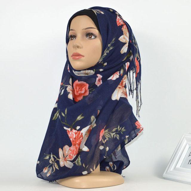 L11 Tassels hijab   scarf   printe floral shawls muslim hijab   scarves   viscose   wraps   fashion Islamic headband   scarves   10pcs/lot