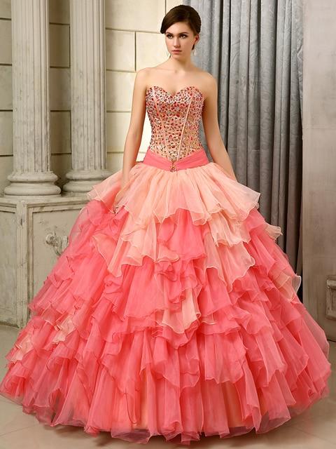 Na venda vestido de baile vestidos 2016 colorido Coral longo Strapless cristais Ruffles Organza espartilho meninas doce 15 vestidos Quinceanera