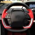 Автомобильные аксессуары AOSRRUN  кожаные Прошитые вручную Чехлы рулевого колеса автомобиля для Citroen C4 PICASSO 2015 2016