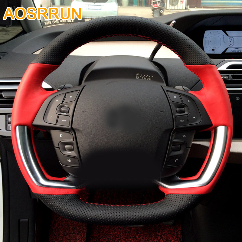 AOSRRUN Car accessories Leather Hand-stitched Car Steering Wheel Covers For <font><b>Citroen</b></font> <font><b>C4</b></font> PICASSO <font><b>2015</b></font> 2016 image