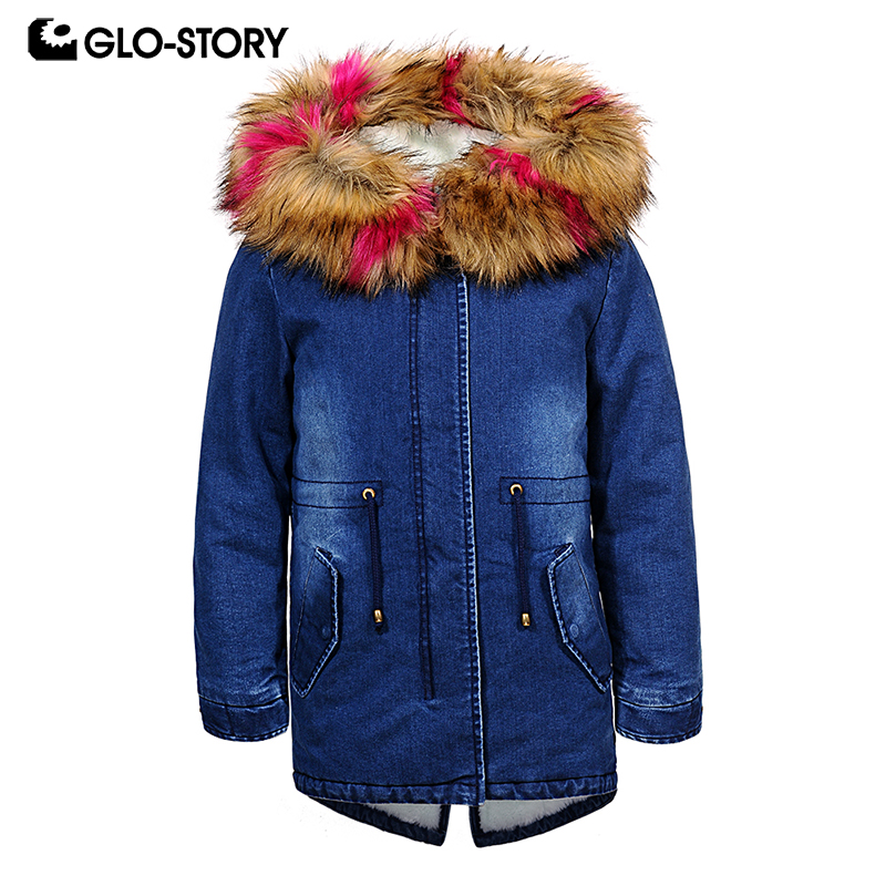 GLO-STORY Shipped From Hungary Children Girls 2018 Winter Thick Warm Fur Hooded Long Denim Parkas Kids Outwear Snow Coats 7570 лампочка rev led r39 e14 3w 4000k холодный свет 32362 4